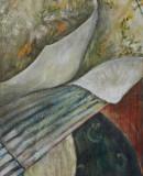 Stoffe, 2004 Öl auf Jute, 120 x 50 cm